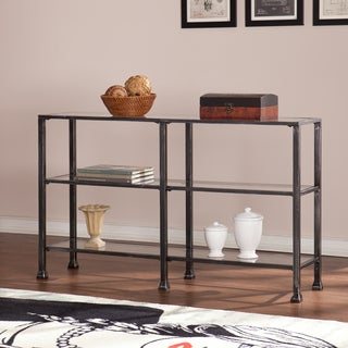 harper blvd distressed black metal and glass 3tier sofa console table