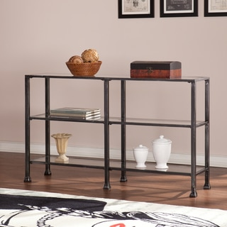 Harper Blvd Distressed Black Metal And Glass 3 Tier Sofa/ Console Table
