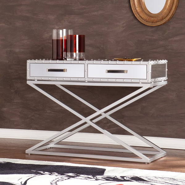 Harper blvd carollton industrial mirrored sofa console table free shipping today overstock - Mirrored console table overstock ...