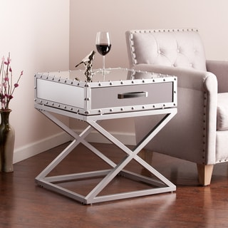 Mirrored bedside furniture Beautiful Upton Home Carollton Industrial Mirrored Side End Table Overstock Buy Mirrored Finish Nightstands Bedside Tables Online At Overstock
