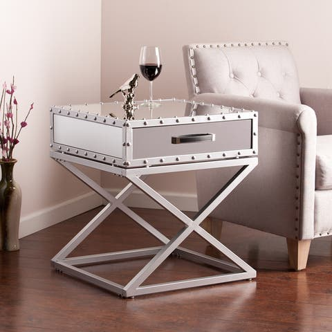 Industrial Mirrored Side/ End Table
