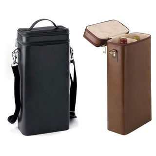 Dual Wine Bottle Leather Carrier