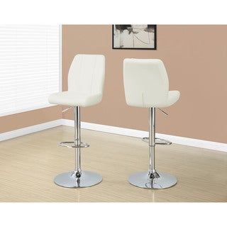 Metal Finish White Faux Leather Upholstered Hydraulic Barstool (Set of 2)