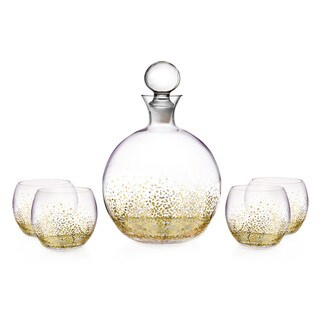 Fitz and Floyd Luster Gold 5-piece Decanter Set