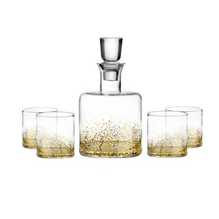 Great Fitz And Floyd Luster Gold 5 Piece Whiskey Set