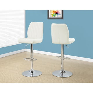 White Hydraulic Barstools (Set of 2)