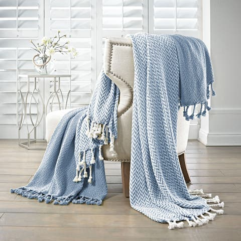 Amraupur Overseas 100-percent Cotton Monaco Throws (Set of 2)