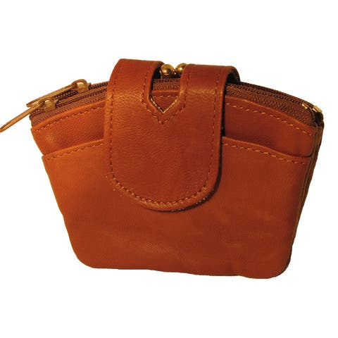 Small Genuine Leather Women's Coin Purse with Kiss Lock Metal Frame and Two Additional Coin Zippered Pockets - M