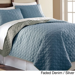 Solid Reversible 3-piece Coverlet Set