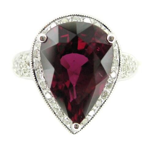 Kabella 18k White Gold Pink Tourmaline and 1/2ct TDW Diamond Cocktail Ring (G-H, SI2-I1)