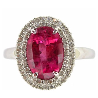 Kabella 18k White Gold Oval Pink Tourmaline and 1/5ct TDW Diamond Double-row Halo Ring (H-I, SI2-SI3)