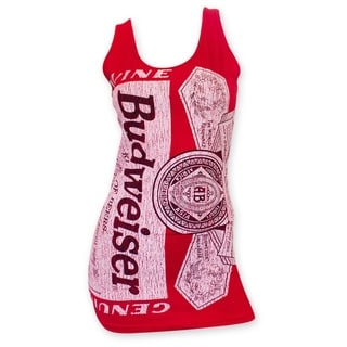 Women's Budweiser Red Distressed Label Tank Top