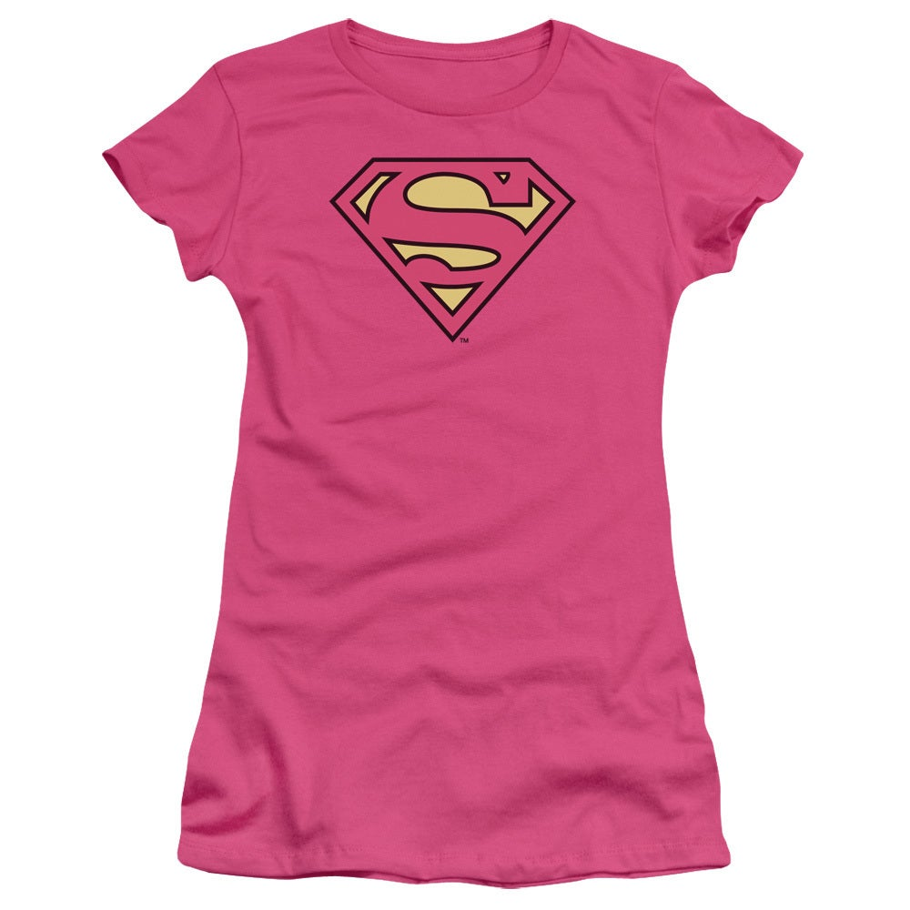 Women's Superman Logo Pink Shirt (S) (polyester, solid)