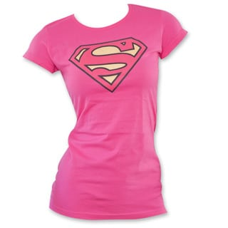 Women's Superman Logo Pink Shirt