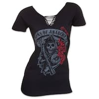 Women's Sons Of Anarchy Lace-Up Roses T-Shirt
