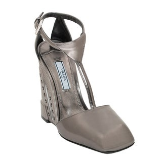 Prada Metallic Leather T-Strap Wedges