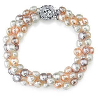 Radiance Pearl Sterling Silver Multi-colored Freshwater Pearl Bracelet (5-6 mm)