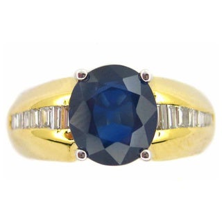 Kabella 14k Yellow Gold Oval Sapphire and 1/3ct TDW Diamond Ring (G-H, SI1-SI2)