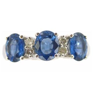 Kabella 14k White Gold Sapphire 1/8ct TDW Diamond Ring (H-I, SI2-I1)