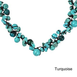 Beaded Clusters Turquoise and Stone Cotton Rope Necklace (Thailand)