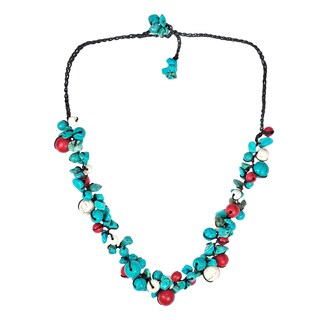 Handmade Beaded Clusters Turquoise and Stone Cotton Rope Necklace (Thailand) (2 options available)