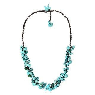 Handmade Beaded Clusters Turquoise and Stone Cotton Rope Necklace (Thailand)