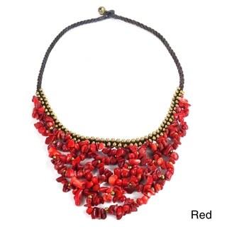 Handmade Cascading Weave Net Stone Brass Necklace (thailand)