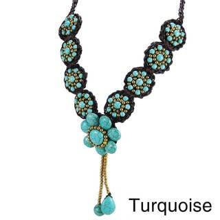 Florals Stone and Brass Medley Tassels Drop Necklace (thailand)