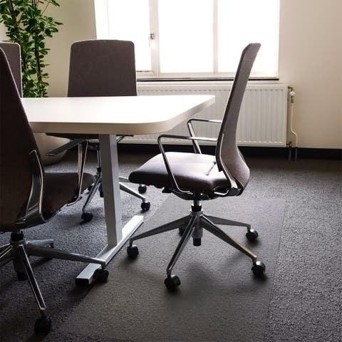 "Cleartex Big and Tall Rectangular Polycarbonate Office Mat for Carpet - Size 48"" x 118"""