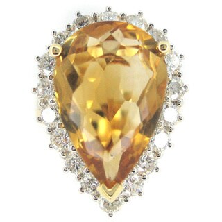 Kabella Luxe 18k Yellow Gold Pear Imperial Topaz 1 1/2ct TDW Diamond Cocktail Ring (G-H, SI1-SI2)