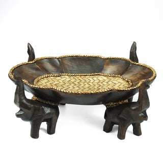 Triumphant Elephant Leaves Carved Rain Tree Wooden Tray (Thailand)