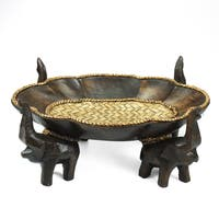 Handmade Triumphant Elephant Leaves Carved Rain Tree Wooden Tray (Thailand)