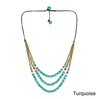 Handmade Classy Belle Triple Layer Stone Brass Necklace (thailand)