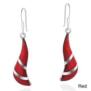 Chic Stone Inlay Spiral Sterling Silver Dangle Earrings (Thailand)