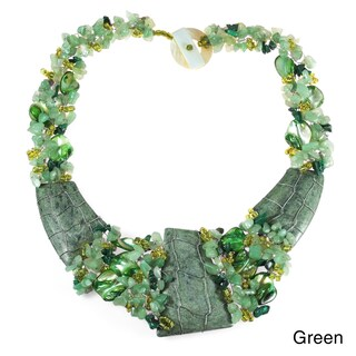 Handmade Tropical Belle Native American Style Jade Link Statement Necklace (Philippines)
