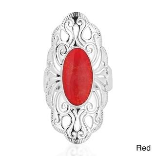 Handmade Vintage Filigree Swirl Beauty Oval Sterling Silver Ring (Thailand)