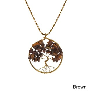 Handmade Charisma 30mm Tree of Life Brass Pendant Necklace (Thailand) (Option: Brown - Fashion - Tigers Eye)