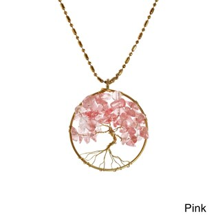 Handmade Charisma 30mm Tree of Life Brass Pendant Necklace (Thailand) (Option: Pink - Fashion - Quartz)