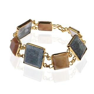 Burmese Jade Square Link Gold Vermeil Brass Bracelets (Thailand)