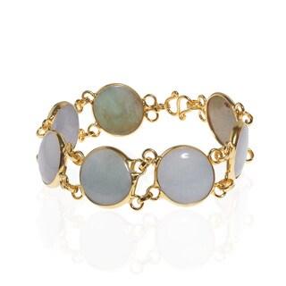 Circle Burmese Jade Link Gold Vermeil Brass Bracelets (Thailand)