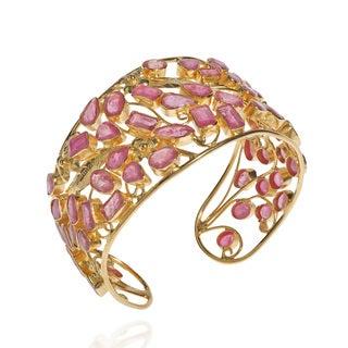 Radiant Fusion Gem Vine Ruby Gold Vermeil Floral Cuff (Thailand)