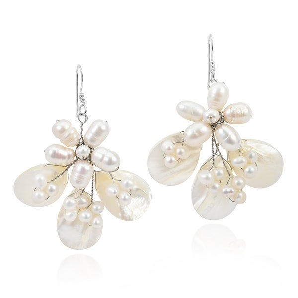 9356fdad5dd8b Shop Handmade Butterfly Mother of Pearl and Pearl .925 Silver ...