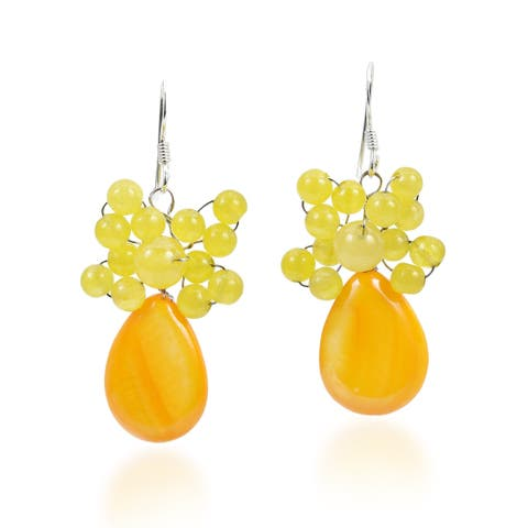 Handmade Sweet Crowned Teardrop Mother of Pearl .925 Silver Earrings (Thailand) - Yellow
