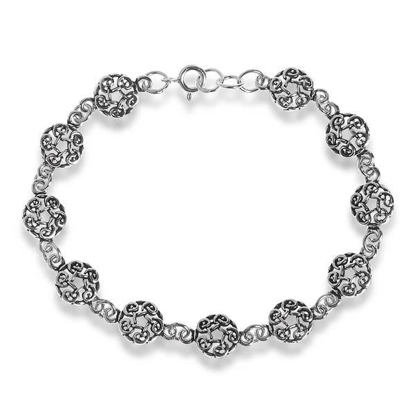 Handmade Celtic Knot Link .925 Sterling Silver Eternity Bracelet (Thailand)