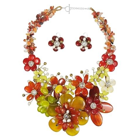 Handmade Autumn Mix Stone Flowers .925 Necklace Jewelry Set (Thailand)