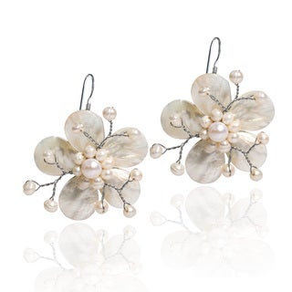 Handmade Mother of Pearl Plumeria Flower .925 Silver Earrings (Thailand)