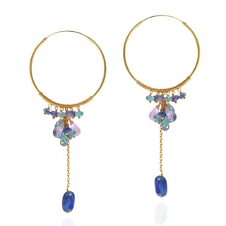 Natural Amethyst Kyanite Drop Gold over .925 Hoop Earrings (Thailand)