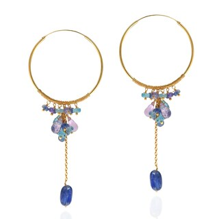 Handmade Natural Amethyst Kyanite Drop Gold over .925 Hoop Earrings (Thailand) - Blue