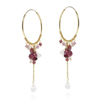 Handmade Paradise Clustered Stones Drop Gold over .925 Hoop Earrings (Thailand) - Red