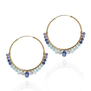 Shades of Blue Hoop Gold over .925 Silver Earrings (Thailand)